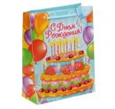 """Пакет ламинат вертикальный """"Торт на День Рождения"""" 18см х 23см"""