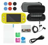 Набор аксессуаров для Nintendo Switch Lite 12 в 1 (Желтый силиконовый чехол)