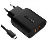 Сетевой адаптер Aukey PA-T16 на 2 USB с функцией быстрой зарядки Qualcomm QC 3.0
