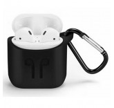 Силиконовый чехол с карабином для наушников Apple AirPods (Черный)