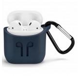 Силиконовый чехол с карабином для наушников Apple AirPods (Синий)