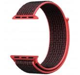 Нейлоновый ремешок Sport Loop Red Black для часов Apple Watch 42mm