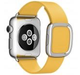 Кожаный ремешок Leather Modern Buckle Yellow для часов Apple Watch 38mm