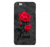 Чехол бампер для iPhone 6 Plus Вышитые розы (серый)