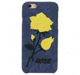 Чехол бампер для iPhone 6 Plus Вышитые розы (синий)
