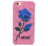 Чехол бампер для iPhone 6 Plus Вышитые розы (розовый)