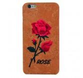 Чехол бампер для iPhone 6 Plus Вышитые розы (бежевый)