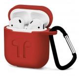 Силиконовый чехол с карабином для наушников Apple AirPods (Красный)