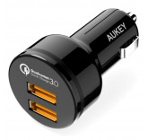 Автомобильное зарядное устройство Aukey СС-T8 Qualcomm QC 3.0 на 2 USB
