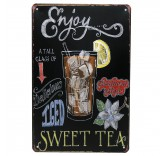 """Винтажная металлическая вывеска для интерьера Home Comfort """"Sweet Tea"""""""