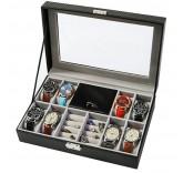 Шкатулка для хранения 8-ми часов и драгоценностей Home Comfort Carbon Watch-Box
