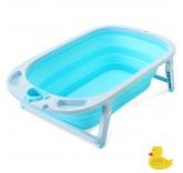 Ванночка детская складная, со сливом и термометром Home Comfort, цвет голубой