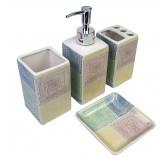 """Набор для ванной Home Comfort """"Геометрия"""" из 4х предметов, четыре цвета"""