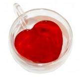 Кружка с двойным стеклом Сердце 240 мл для кофе и чая