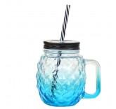 Кружка банка с трубочкой для напитков (Ананас синяя) 550ml