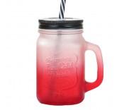 Кружка банка с трубочкой для напитков (Красная) 450ml