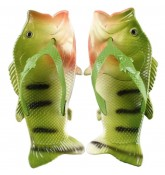 Тапочки шлепанцы в форме рыбы Fish Slippers Green