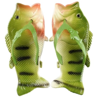 Купить Тапочки шлепанцы в форме рыбы Fish Slippers Green с доставкой по России