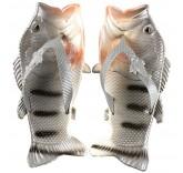 Тапочки шлепанцы в форме рыбы Fish Slippers Grey