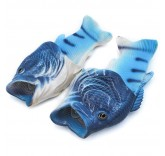 Тапочки шлепанцы в форме рыбы (синие)