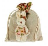 """Подарочная сумочка """"Зайка"""" костюм в цветочек, цвет бежевый"""