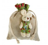 """Подарочная сумочка """"Зайка"""" платье в цветочек, цвет зеленый 14см х 18см"""