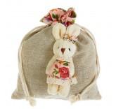 """Подарочная сумочка """"Зайка"""" костюм в цветочек, цвет розовый"""