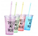 Термокружка для прохладительных напитков This is my Drink с крышкой и трубочкой