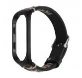 Кожаный браслет для Xiaomi Mi Band 4 с контрастным швом (Черный)