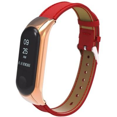 Купить Кожаный ремешок для Xiaomi Mi Band 3 (Красный) с доставкой по России