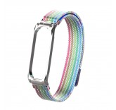 Сетчатый браслет с магнитной застежкой для Xiaomi Mi Band 4 (радуга)