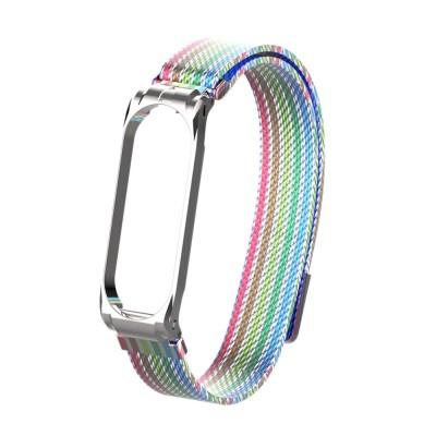 Купить Сетчатый браслет с магнитной застежкой для Xiaomi Mi Band 4 (радуга) с доставкой по России