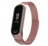 Сетчатый браслет с магнитной застежкой для Xiaomi Mi Band 4 (розовый)