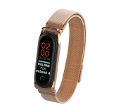 Сетчатый браслет с магнитной застежкой для Xiaomi Mi Band 4 (розовое золото)