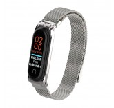 Сетчатый браслет с магнитной застежкой для Xiaomi Mi Band 4 (серебро)