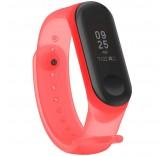 Силиконовый полупрозрачный ремешок для Xiaomi Mi Band 3 (Красный)