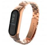 Стальной браслет для Xiaomi Mi Band 3 розовое золото