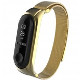 Миланский сетчатый браслет с магнитной застежкой для Xiaomi Mi Band 3 (Gold)