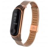 Стальной сетчатый браслет для Xiaomi Mi Band 3 (Розовое золото)