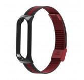 Стальной сетчатый браслет для Xiaomi Mi Band 4 (Черно-красный)