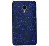 Пластиковый бампер для Meizu MX4 брызги краски (синий)